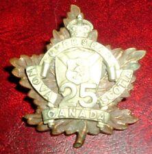 CAP BADGES-OFFICERS WW1 CANADIAN CEF 25th NOVA SCOTIA BATTALION REF 25-23