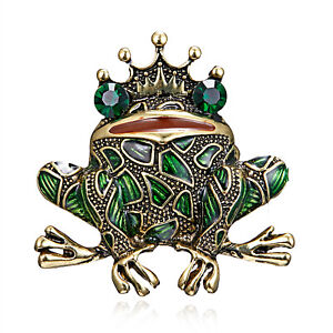 Animal Insects Frog Prince Crystal Brooch Pin Breastpin Women Men Jewelry Gifts