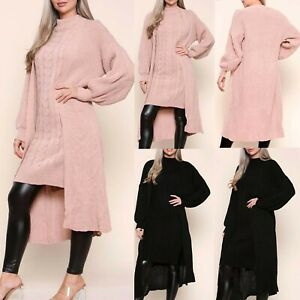 LADIES WOMENS KNITTED LONG MAXI HIGH NECK DRESS OPEN CARDIGAN 2 PCS CO ORD SET