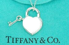 "Tiffany & co. 92.5% Silver Openable Heart Lock & Key Pendant 15.75"" Necklace"