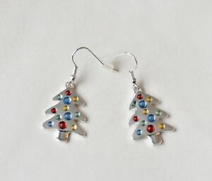 SILVER PLATED CHRISTMAS TREE EARRINGS COLOURFUL BULB JEWELLERY WOMENS GIRLS