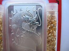 1  OZ.999 PURE SILVER 2012 PAMP SUISSE CHINA YEAR OF THE DRAGON MINT BAR + GOLD