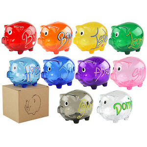 Personalised Piggy Bank Money Box Saving Coins Cash Gift Plastic Transparent Kid