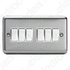 Varilight XS96W 6 Gang 2 Way 10amp Switch Twin plate Matt Chrome (White Inserts)