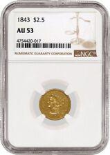 1843 $2.50 Liberty Head Quarter Eagle Gold NGC AU53