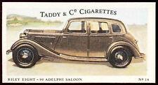 Riley Eight-90 Adelphi Saloon #14 Motor Cars,Taddy & Co Cigarettes Card (C144)