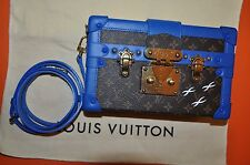 Authentic Louis Vuitton Petite Malle Blue Trims Mini Trunk Cross-body Bag-USED