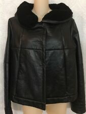Prada jacket black lambskin and leather shawl collar quilted snap up size 40