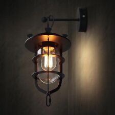 Industrial Retro Vintage Wall Light Sconce Lamp Iron Glass Fixture Cage Lighting