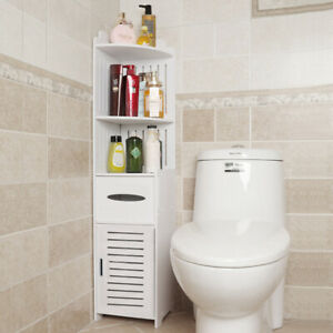 4FT Tall Corner Display Rack Storage Shelf Cabinet Hallway Toilet Side Cupboard