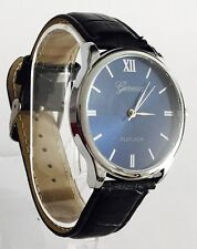 NEW stylish Black LEATHER Wrist WATCH With a BLUE face UK SELLER