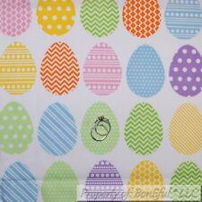 BonEful FABRIC FQ Cotton Quilt White Rain*bow Easter Egg Large Dot Bright Color