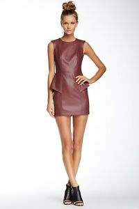 BCBGeneration Saffron  Faux Leather Cutout Sleeveless Casual Dress  size 6