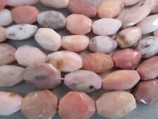 Pink Peruvian Opal Faceted Flat Nuggets Beads 19pcs