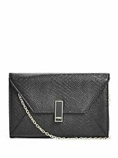 GUESS BRYNNA BLACK SAFFIANO FAUX PYTHON LEATHER,ROSE GOLD CHAIN CROSSBODY,CLUTCH