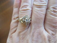 Vintage 14 KT Yellow Solid Gold  Diamonds  Engagement  Ring 7.5 $1450+