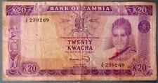 ZAMBIA 20 KWACHA NOTE  FROM 1969, P 13 d, SIGNATURE 4