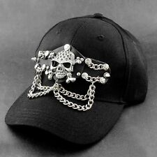 Cool! Heave Metal Skull Chain Punk BIker Cap Mens Black Fashion Hat
