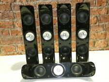 BOXED! 5 x KEF HTS 5001 Gloss Black Surround Sound Home Cinema Loudspeakers