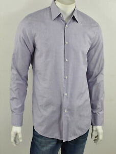 HUGO BOSS Purple Woven Cotton MARLOW US Sharp Fit Dress Shirt 16 34/35