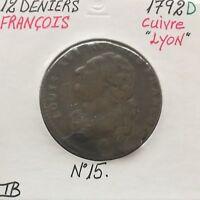 12 DENIERS - LOUIS XVI - 1792D - Pièce de Monnaie en Cuivre // TB