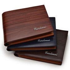Men's Designer Brown Leather Wallet Luxury Credit Card Holder Bifold Purse