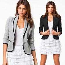 Women Slim Fit Button Blazer Short Coat Work OL Office Suit Jacket Tops Outwear