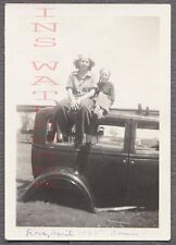 Vintage Car Photo Woman & Cute Girl on Junk Automobile Chicken Coupe 701246