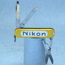 "Yellow Victorinox Swiss Army Classic 58mm, '50s ""Nikon"" logo Pocket Knife; EX!"