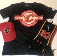 NEW Calgary Flames Mens Large T-shirt, Hat & Scarf
