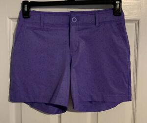 "Under Armour UA Links 5"" Shorty Women's Heat Gear Shorts Sz 4 Purple Splatter"