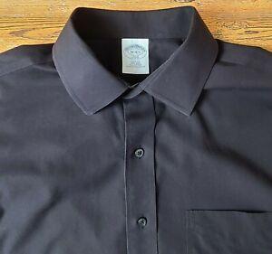 Brooks Brothers Men's Slim Fit Non Iron Button Front Shirt Sz 16-34/35 Black