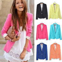 Womens OL Work Office Blazer Casual Jacket Slim Solid Suit Coat Outerwear Tops
