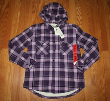 NWT Womens Boston Traders Purple Plaid Sherpa Lined Flannel L/S Hoodie L Large