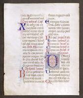 Pagina originale in pergamena manoscritta da Libro d'Ore medievale - XV secolo