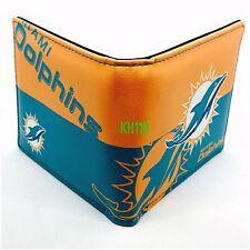 NFL Miami Dolphins Men's Printed Logo Leather Bi-Fold Wallet