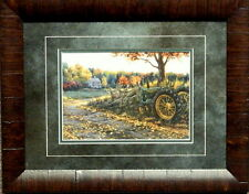 Darrell Bush Morning Run Deer with John Deere Tractor-Framed 19 x 15