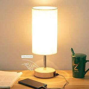 Bedside Lamp with USB port - Touch Control Table Lamp for Bedroom Wood 3 1 Pack