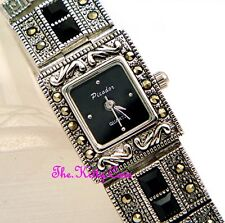 Silver Deco Vintage Marcasite Statement Bracelet Watch w/ Jet Swarovski Crystals