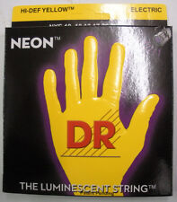 Neon hi def yellow electric guitar string set. Gauge 10 13 17 26 36 46 coated