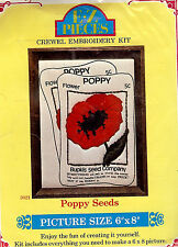 """Vintage 1976 Crewel Embroidery Kit - POPPY SEEDS - 6"""" X 8"""" - Floral"""