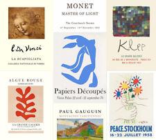 ART GALLERY EXHIBITION POSTERS: Picasso, Monet, Da Vinci, Klee, Gauguin Prints