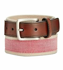 Club Room Mens Chambray Casual Belt, Red, 34