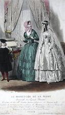 GRAVURE ANCIENNE DE MODE 19e - MONITEUR DE LA MODE - MARIEE - MAISON POPELIN
