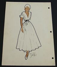 1950's Vintage Fashion Design Original Art Drawing