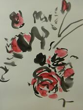 JOSE TRUJILLO - MODERN ABSTRACT EXPRESSIONIST INK WASH RED FLOWERS 18X24 ART