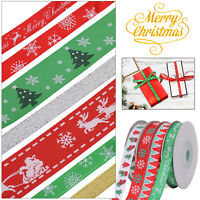 Christmas Ribbons Happy Xmas Bows Snowflakes Candy Sleigh Gift Wrapping Craft
