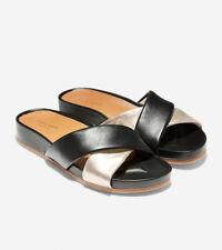Cole Haan Womens Arielle Open Toe SlipOn Leather Flat Sandals US 7.5 C Wide NWOB