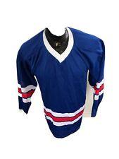 MENS Medium Cooper Vintage Hockey Jersey Blue red white trim USA?