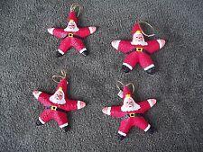 Starfish SANTA CLAUS Real Starfish Seashell Christmas Beach Ornament  Lot of 4